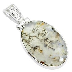 18.70cts natural brown dendritic quartz 925 sterling silver pendant t10631