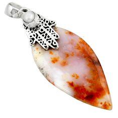 Clearance Sale- 33.54cts natural brown dendritic quartz silver hand of god hamsa pendant d45553