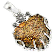 18.55cts natural brown dinosaur bone fossilized 925 silver flower pendant r77848