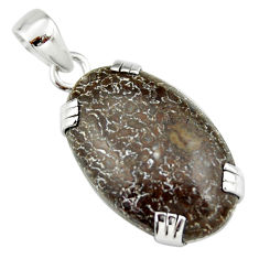 19.06cts natural brown dinosaur bone fossilized 925 silver pendant r20115