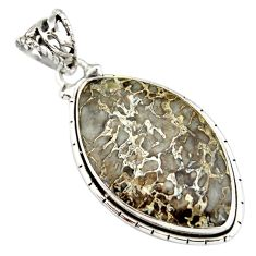 17.57cts natural brown dinosaur bone fossilized 925 silver pendant r20117