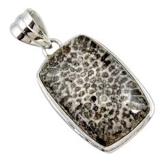 16.18cts natural brown dinosaur bone fossilized 925 silver pendant r27757