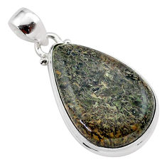 17.22cts natural brown dinosaur bone fossilized 925 silver pendant t38445