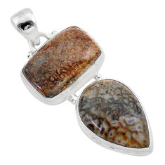 13.27cts natural brown dinosaur bone fossilized 925 silver pendant t42114