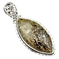 23.46cts natural brown dinosaur bone fossilized marquise silver pendant r20113
