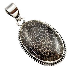17.57cts natural brown dinosaur bone fossilized oval 925 silver pendant r27742