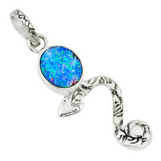 2.89cts natural brown doublet opal australian 925 silver snake pendant r78417