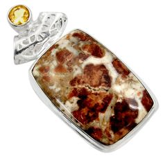 29.40cts natural brown garnet in limestone spessartine 925 silver pendant d41903