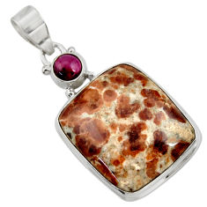 Clearance Sale- 25.57cts natural brown garnet in limestone spessartine 925 silver pendant d41908