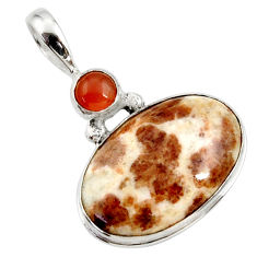 16.57cts natural brown garnet in limestone spessartine 925 silver pendant r27747