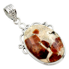 19.23cts natural brown garnet in limestone spessartine 925 silver pendant r27848