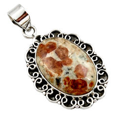 18.15cts natural brown garnet in limestone spessartine 925 silver pendant r27856