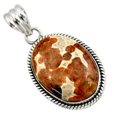 21.48cts natural brown garnet in limestone spessartine 925 silver pendant r32129