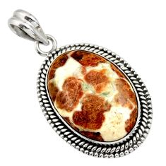 22.15cts natural brown garnet in limestone spessartine 925 silver pendant r32130