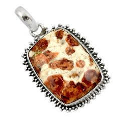 21.18cts natural brown garnet in limestone spessartine 925 silver pendant r32135