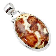 15.22cts natural brown garnet in limestone spessartine 925 silver pendant r46262