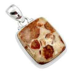 16.32cts natural brown garnet in limestone spessartine 925 silver pendant r46266