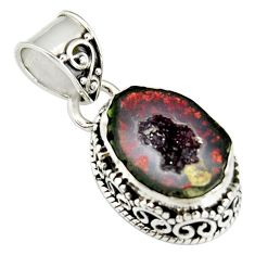 6.36cts natural brown geode druzy 925 sterling silver pendant jewelry r20181