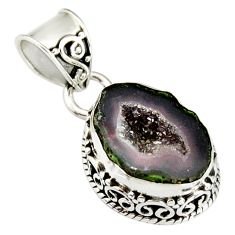 6.72cts natural brown geode druzy 925 sterling silver pendant jewelry r20185