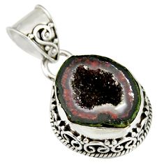 7.36cts natural brown geode druzy 925 sterling silver pendant jewelry r20192