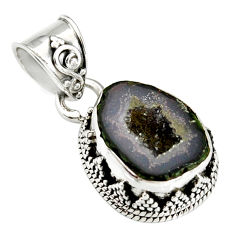 7.89cts natural brown geode druzy 925 sterling silver pendant jewelry r20194