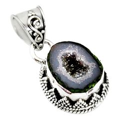 7.89cts natural brown geode druzy 925 sterling silver pendant jewelry r20200