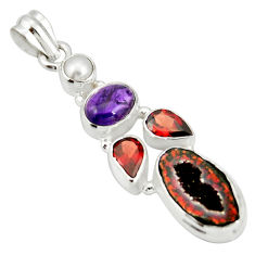 13.07cts natural brown geode druzy amethyst 925 sterling silver pendant r20311