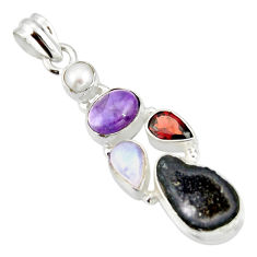 12.40cts natural brown geode druzy amethyst 925 sterling silver pendant r20314