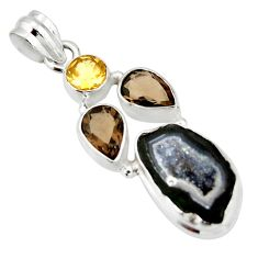 12.64cts natural brown geode druzy smoky topaz 925 silver pendant r20316