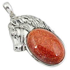 Natural brown goldstone 925 sterling silver horse pendant jewelry c22583