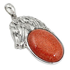 Natural brown goldstone 925 sterling silver horse pendant jewelry c22599