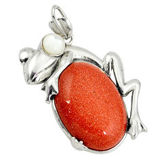 Natural brown goldstone pearl 925 sterling silver frog pendant c22522