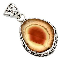 Clearance Sale- 17.18cts natural brown imperial jasper 925 sterling silver pendant d42212