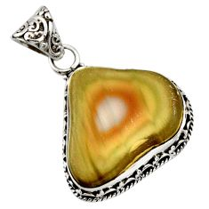 Clearance Sale- 17.93cts natural brown imperial jasper 925 sterling silver pendant d42220