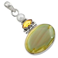 Clearance Sale- 15.05cts natural brown imperial jasper citrine pearl 925 silver pendant d45100
