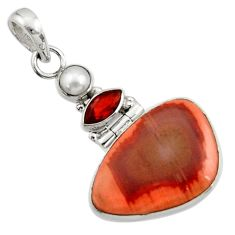 Clearance Sale- 15.65cts natural brown imperial jasper garnet 925 sterling silver pendant d45131