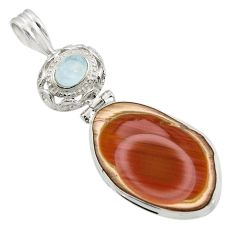 Clearance Sale- 18.94cts natural brown imperial jasper moonstone 925 silver pendant d45092