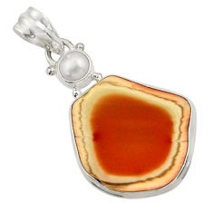 Clearance Sale- 15.65cts natural brown imperial jasper pearl 925 sterling silver pendant d45097