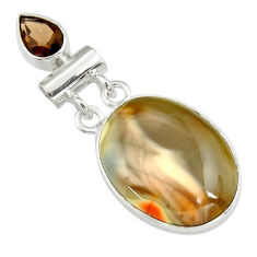 17.42cts natural brown imperial jasper smoky topaz 925 silver pendant r19605