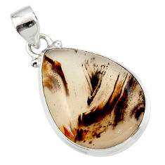 15.55cts natural brown montana agate 925 sterling silver pendant jewelry r46594