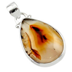 14.42cts natural brown montana agate 925 sterling silver pendant jewelry r46595