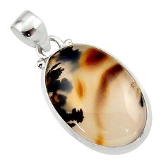 14.33cts natural brown montana agate 925 sterling silver pendant jewelry r46599