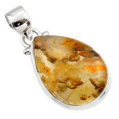 11.23cts natural brown montana agate 925 sterling silver pendant jewelry r46618