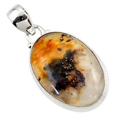 13.73cts natural brown montana agate 925 sterling silver pendant jewelry r46619