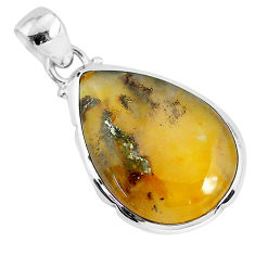 11.17cts natural brown montana agate 925 sterling silver pendant jewelry r94668