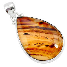 17.57cts natural brown montana agate 925 sterling silver pendant jewelry r94862