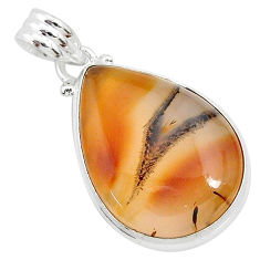 16.57cts natural brown montana agate 925 sterling silver pendant jewelry r94863