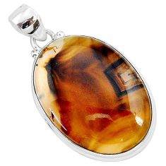 20.88cts natural brown montana agate 925 sterling silver pendant jewelry r94877