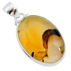 16.20cts natural brown montana agate 925 sterling silver pendant jewelry r94879