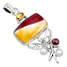 23.70cts natural brown mookaite 925 silver angel wings fairy pendant r73081